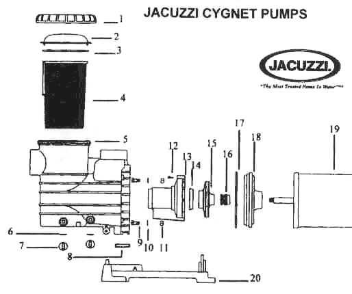 Jacuzzi Cygnet Pool Pump Parts - Discount Parts For Jacuzzi Pumps with regard to Jacuzzi Pool Pump Parts Diagram