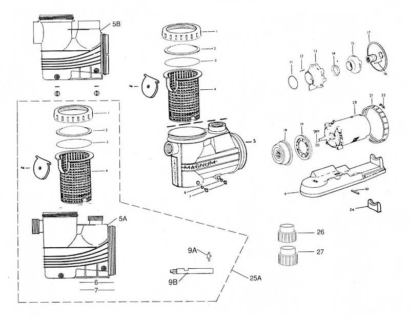 Jacuzzi Magnum Pump, Magnum Force Parts Diagram with Jacuzzi Pool Pump Parts Diagram