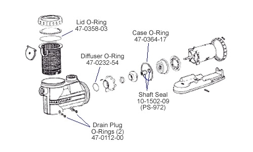 Jacuzzi Magnum Pump Repair Kit 14 with regard to Jacuzzi Pool Pump Parts Diagram
