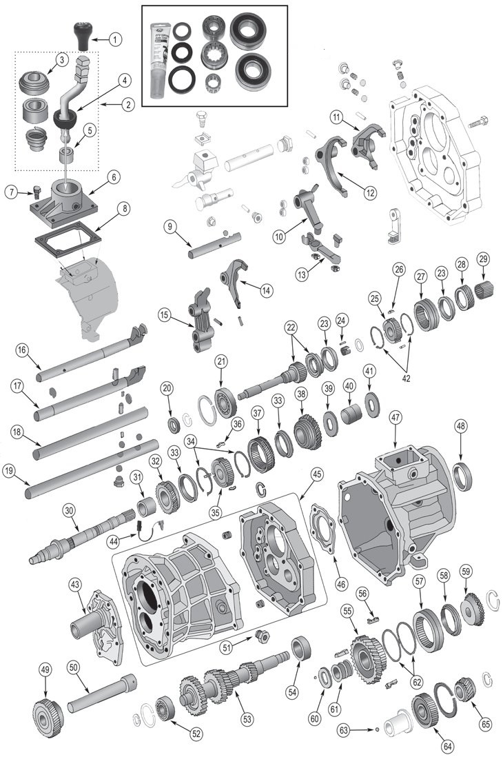 Jeep Ax15 Transmission Parts For 1987-1999 Wrangler Tj, Yj intended for 1999 Jeep Grand Cherokee Parts Diagram