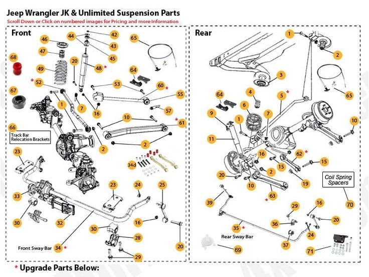 jeep wrangler suspension diagram  jeep  auto parts catalog