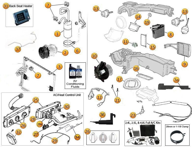 Jeep Wrangler Air Conditioning | Jeep Heater Parts with regard to 2000 Jeep Wrangler Parts Diagram