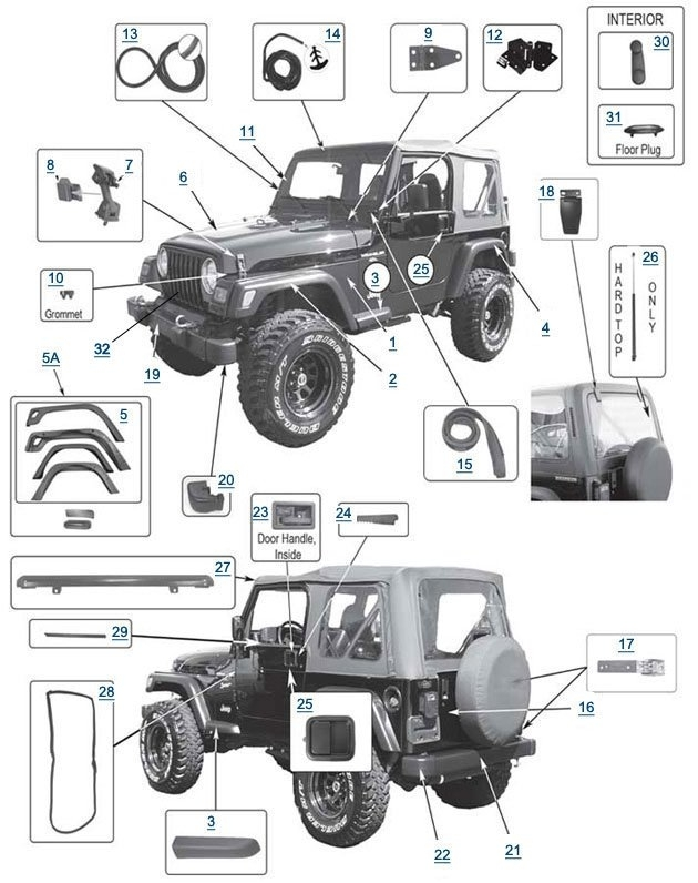 Jeep Wrangler Body Parts | {Instock} Tj Body Parts For Wrangler At intended for 1995 Jeep Wrangler Parts Diagram