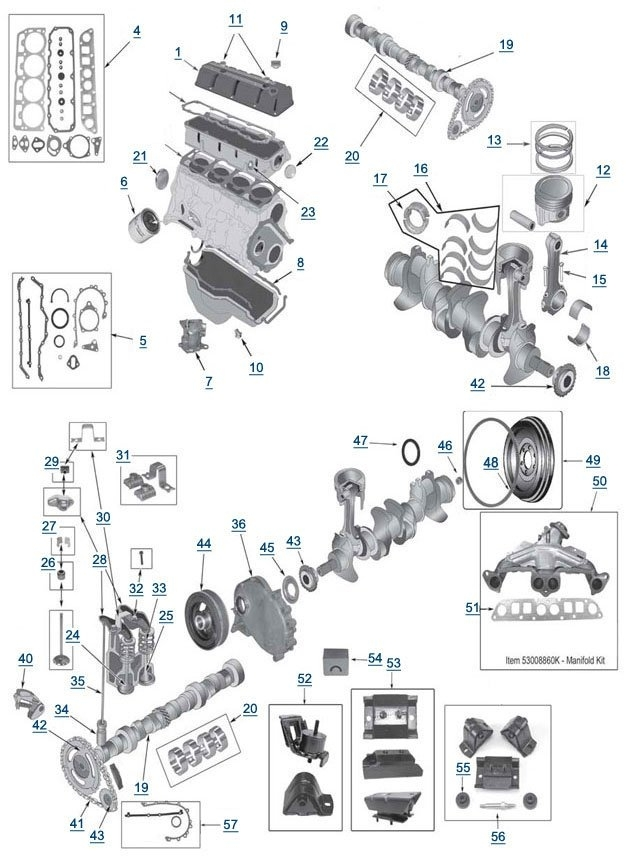Jeep Wrangler Engine 2.5 L 4-Cylinder | 87-95' Yj Wrangler Parts with 2000 Jeep Wrangler Parts Diagram