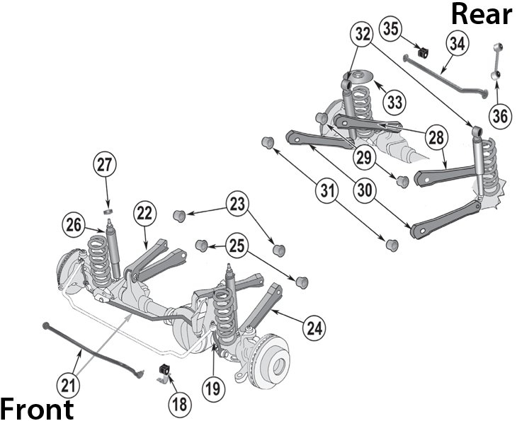93 jeep cherokee front suspension parts