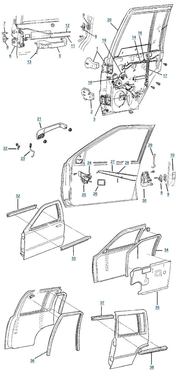 Jeep Zj Grand Cherokee Door Parts | Free Shipping At 4Wd intended for 1998 Jeep Grand Cherokee Parts Diagram