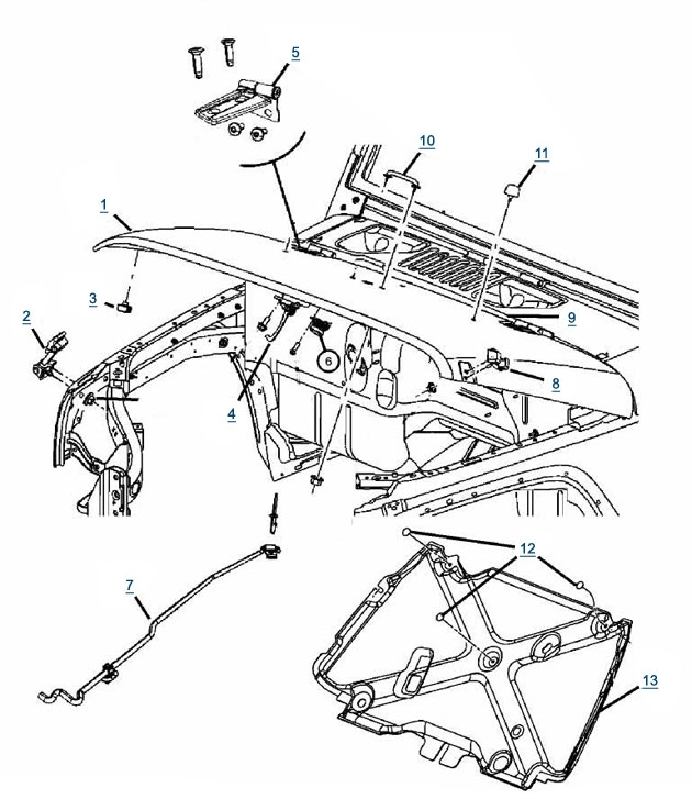 Jk Wrangler Hood Parts - 4 Wheel Parts with regard to Jeep Wrangler Jk Parts Diagram
