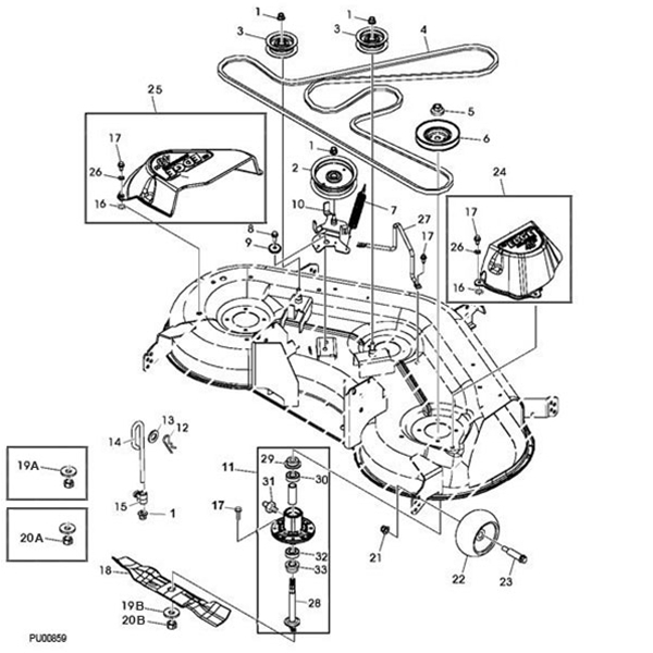 John Deere 145 Deck Parts Diagram intended for John Deere Mower Parts Diagram