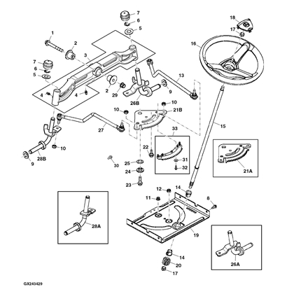 John Deere D150 Lawn Tractor Parts in John Deere 345 Parts Diagram