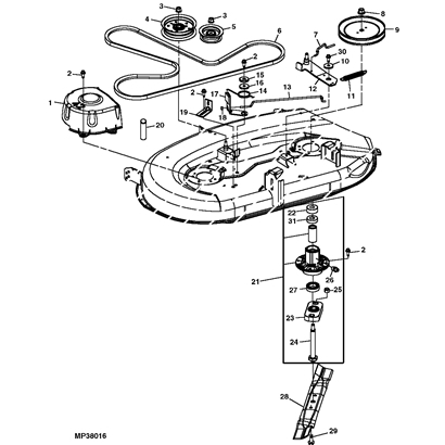 IC4f 16353 together with John Deere 111 Mower Deck Parts Diagrams also John Deere X540 Garden Tractor Spare Parts together with John Deere L100 L110 L120 L130 Repair Manual Lawn Garden Tractor in addition 140 John Deere Wiring Diagram. on john deere l100 mower deck