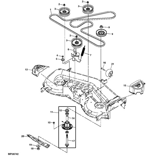 "John Deere La175-D170 54"" Deck Parts intended for John Deere Deck Parts Diagram"