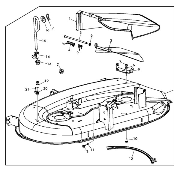John Deere Replacement 42-Inch Mower Deck Housing Gy22226 in John Deere La125 Parts Diagram