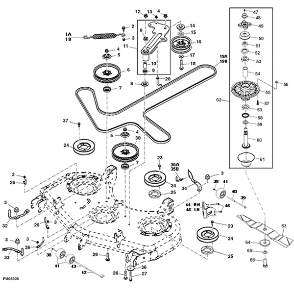 "John Deere Z900A Series 48"" Mower Deck Parts Diagram pertaining to John Deere Deck Parts Diagram"
