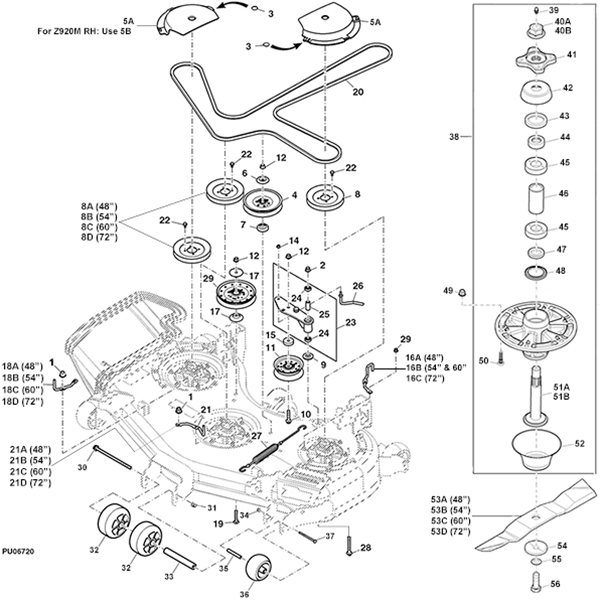 John Deere Z930M Z Trak Mower Parts with John Deere Deck Parts Diagram