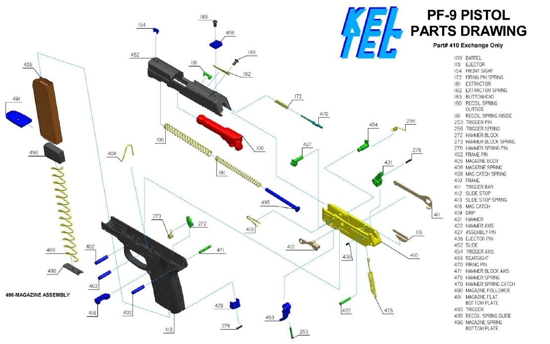 Kel-Tec Pf-9 Parts Diagram - Muzzle First within Kel Tec Pf9 Parts Diagram