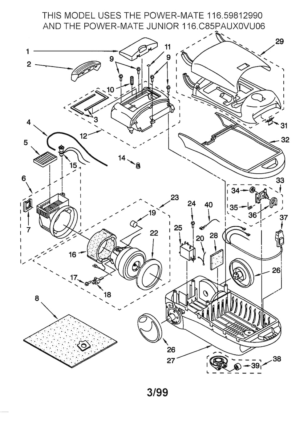 Kenmore Canister Vacuum Cleaner Parts | Model 11629812990 | Sears intended for Kenmore Vacuum Model 116 Parts Diagram