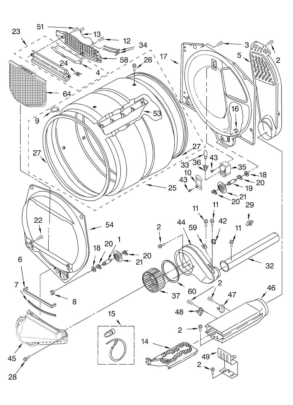 Kenmore Residential Dryer Parts | Model 11064892401 | Sears within Kenmore 90 Series Dryer Parts Diagram