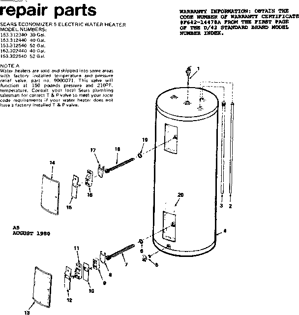 Kenmore Sears Economizer 5 Electric Water Heater Parts | Model regarding Electric Water Heater Parts Diagram
