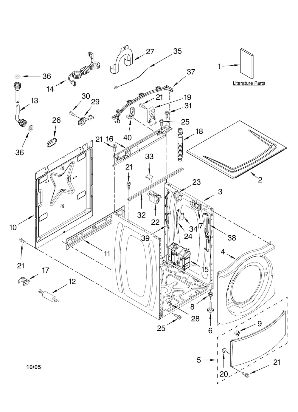 kenmore front load washer parts diagram