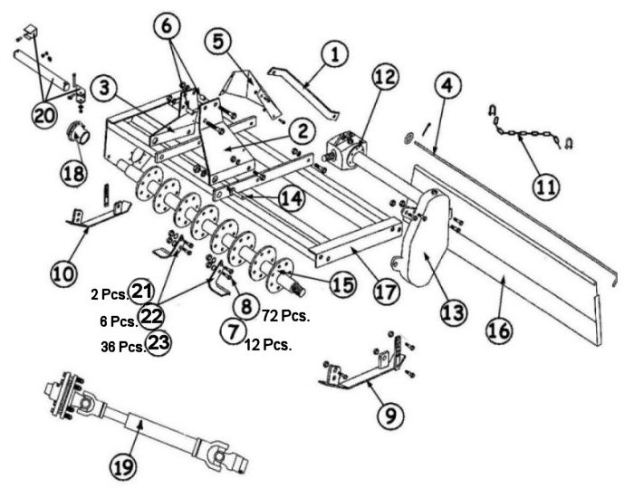 King Kutter Rotary Tiller Parts : Rural King intended for King Kutter Tiller Parts Diagram