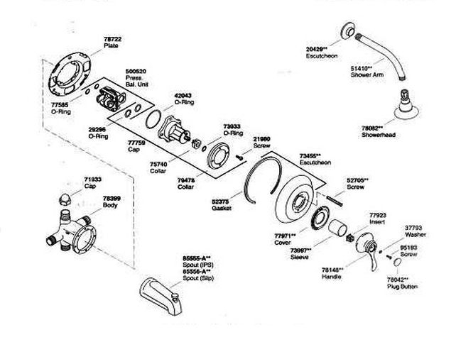 kohler shower pressure valve diagram