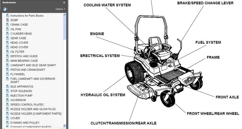 kubota mower deck parts diagram