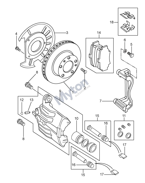 Land Rover Freelander 1 - Front Brake Disc And Caliper - From in Land Rover Freelander Parts Diagram