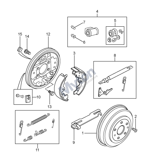 Land Rover Freelander 1 - Rear Drum Brakes - From 1A000001 Diagram within Land Rover Freelander Parts Diagram