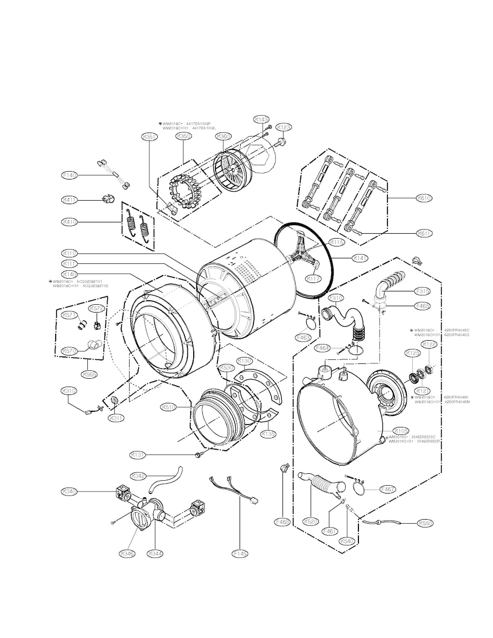 Lg Washer Parts | Model Wm2016Cw01 | Sears Partsdirect inside Lg Front Load Washer Parts Diagram