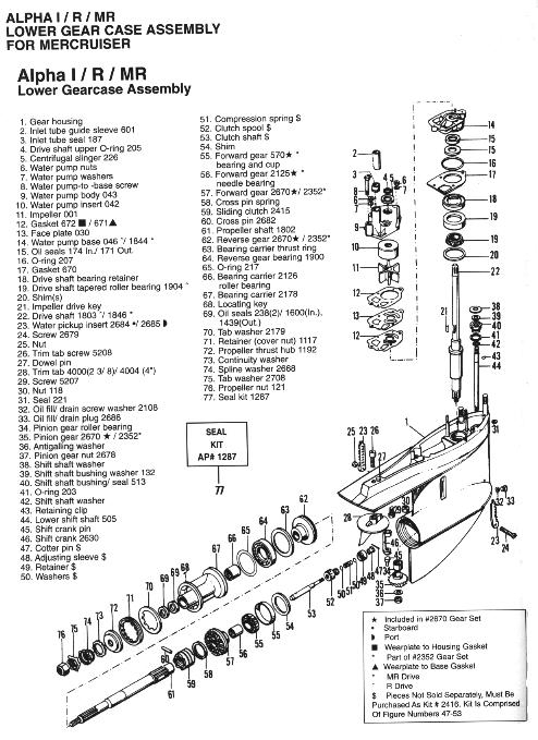 Lower Gear Case Assembly For Mercruiser Alpha 1/r/mr within Mercruiser Alpha 1 Parts Diagram