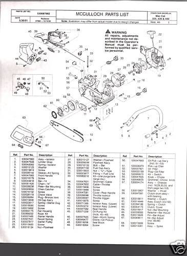 Mac Cat 335, 435, 440., Mcculloch Chain Saw Parts List for Stihl Ms 360 Parts Diagram