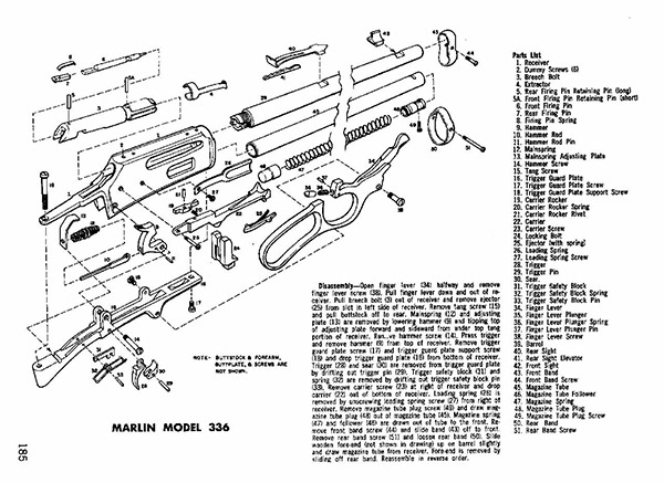 Marlin 336 Sc Schematic - Image Gallery Marlin 336 Parts intended for Marlin 30 30 Parts Diagram
