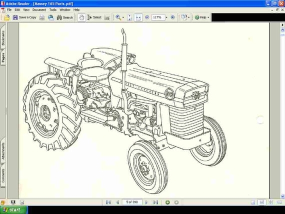 Massey Ferguson 165 Tractor Parts Manual 390Pg Of Exploded in Massey Ferguson 165 Parts Diagram