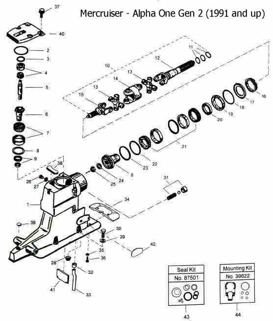 Mercruiser Alpha One Upper Unit Drawing for Alpha One Sterndrive Parts Diagram