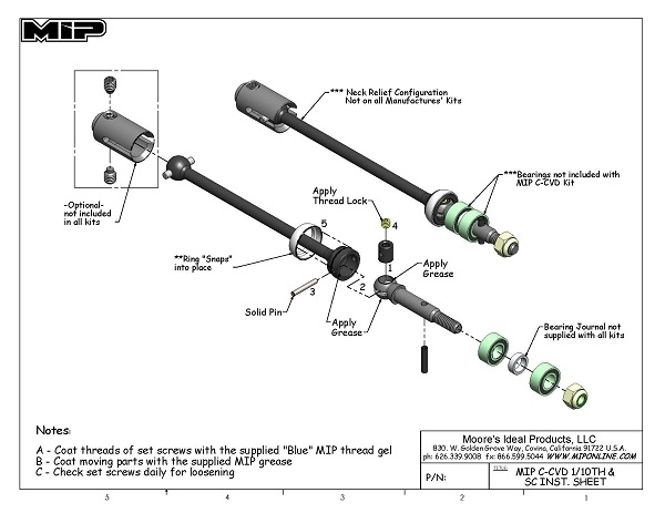 Mip C-Cvd™ Kit, Traxxas Electric Rustler, Stampede (2) #08123 with regard to Traxxas Stampede 2Wd Parts Diagram
