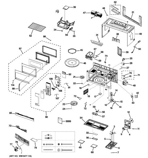 Model Search | Jvm1950Sr1Ss for Ge Spacemaker Microwave Parts Diagram