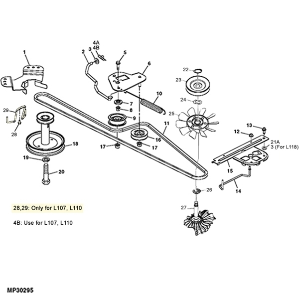 Images additionally John Deere S82 Wiring Diagram likewise Deck Idler Gy20629 besides John Deere X110 Garden Tractor Spare Parts further John Deere Mower Deck Parts Diagram. on john deere l110 diagram