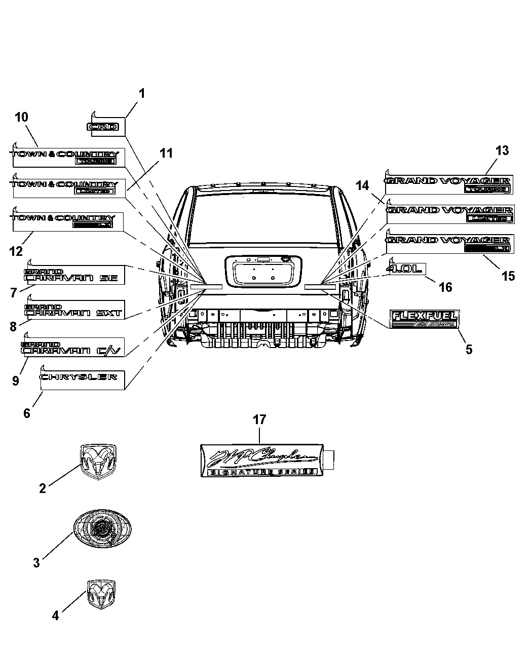 Nameplates - Emblem & Medallions For 2008 Chrysler Town & Country for 2008 Chrysler Town And Country Parts Diagram