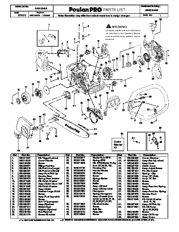 One Pro Parts Images - Reverse Search intended for Poulan Pro Chainsaw Parts Diagram