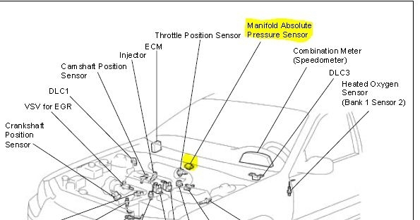 P0105 2000 Toyota Camry Manifold Absolute Pressure/barometric in 2000 Toyota Camry Parts Diagram