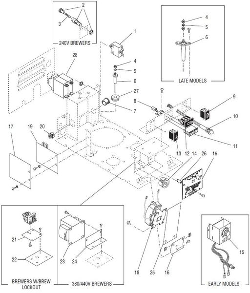 Parts Town – Bunn U3 Urn (Large Capacity) Coffee Brewers Parts Manual with Bunn Coffee Maker Parts Diagram