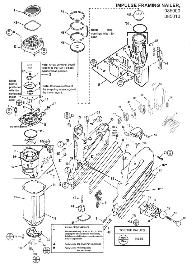 Paslode Nose Modified Im350 Paslode Impulse Framing Nailer Spare in Paslode Framing Nailer Parts Diagram