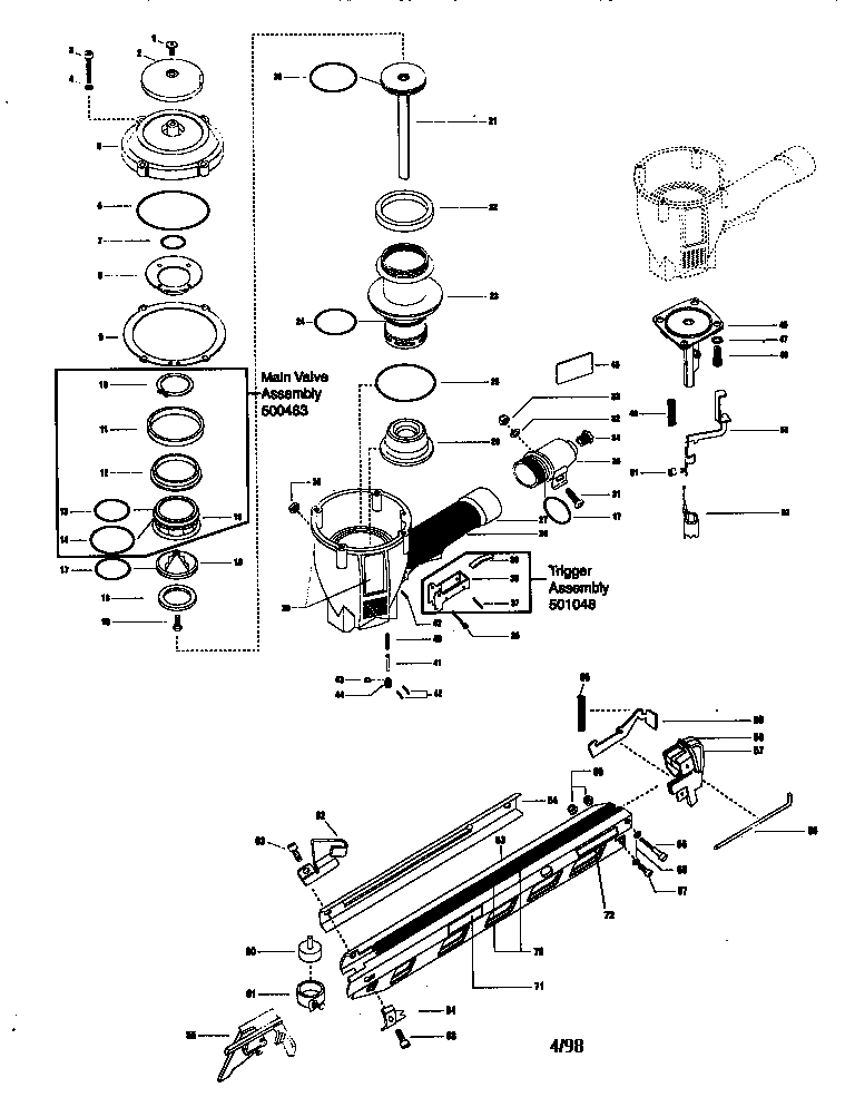 Paslode Power Master Plus Strip Nailer Parts | Model F350S | Sears regarding Paslode Framing Nailer Parts Diagram