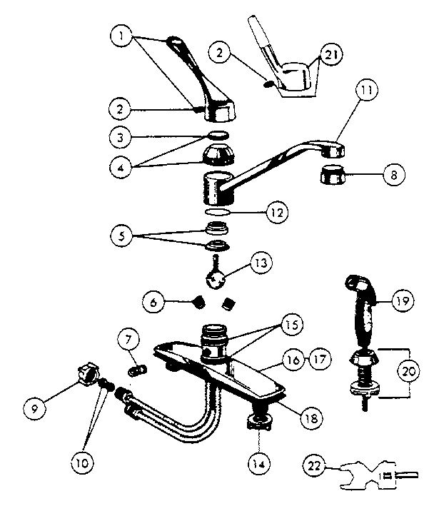 Peerless Kitchen Faucet Parts | Model 3695 | Sears Partsdirect in Peerless Kitchen Faucet Parts Diagram