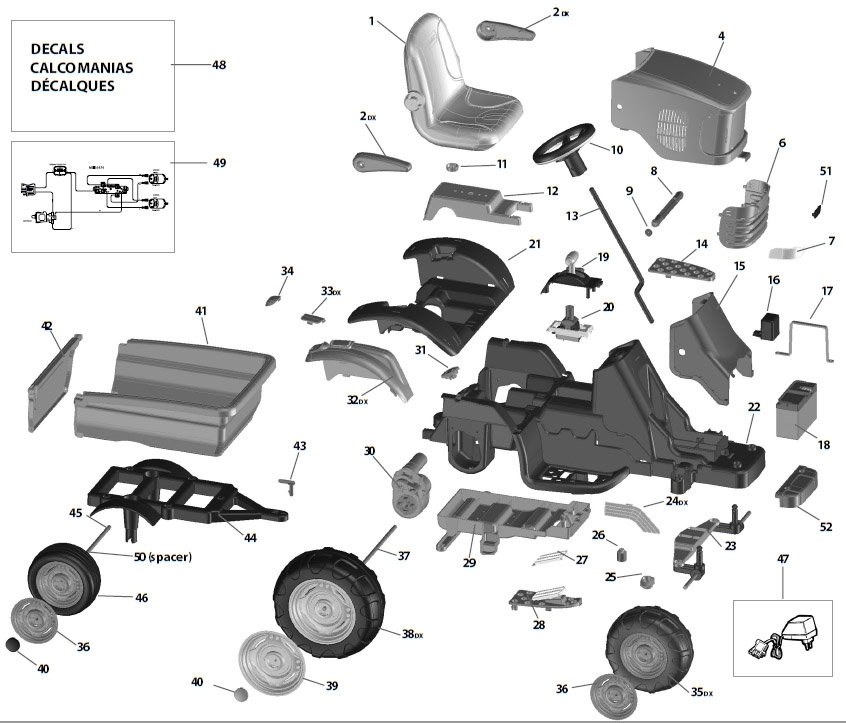 Peg Perego John Deere Turf Tractor Parts in John Deere 855 Parts Diagram