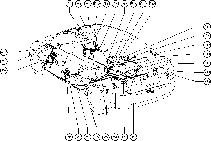 Position Of Parts In Body - Toyota Corolla 2004 Wiring with regard to Toyota Camry Body Parts Diagram