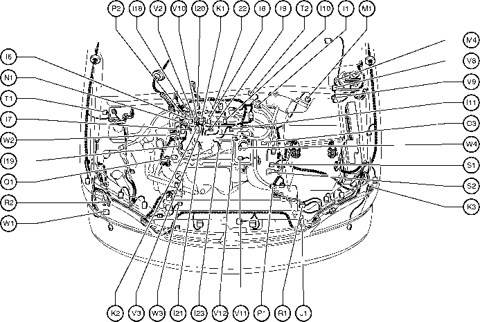 Position Of Parts In Engine Compartment - Toyota Sienna 1997-2003 in 2006 Toyota Sienna Parts Diagram