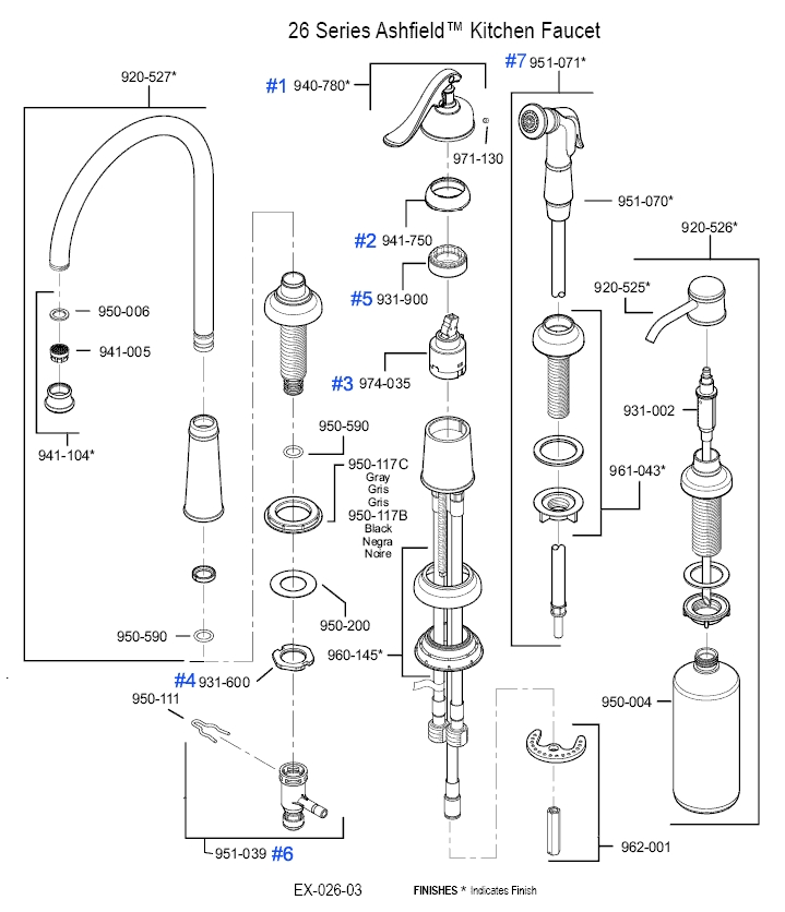 Price Pfister Kitchen Faucet Diverter Valve | Ideasidea in Price Pfister Marielle Parts Diagram