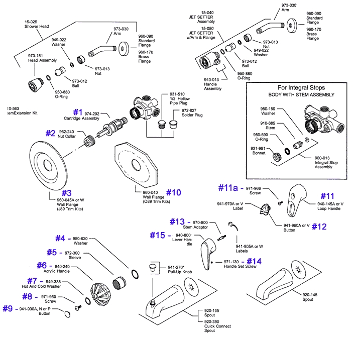 Price Pfister Series 08 & 09 Single Handle Tub & Shower Parts inside Price Pfister Marielle Parts Diagram