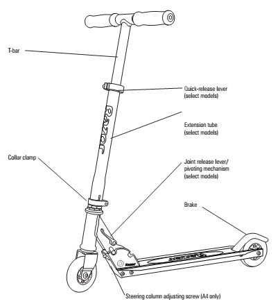 Razor A Kick Scooter: Kick Scooter And Kids | Kickscooter in Razor Kick Scooter Parts Diagram